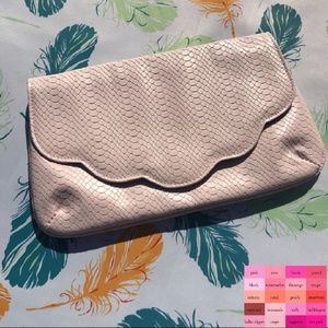 N ASOS Clutch Textured Scallop Foldover